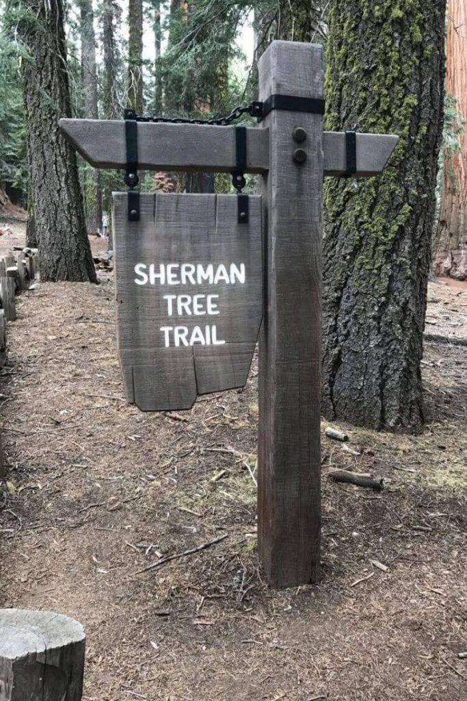 sherman tree trailhead sign