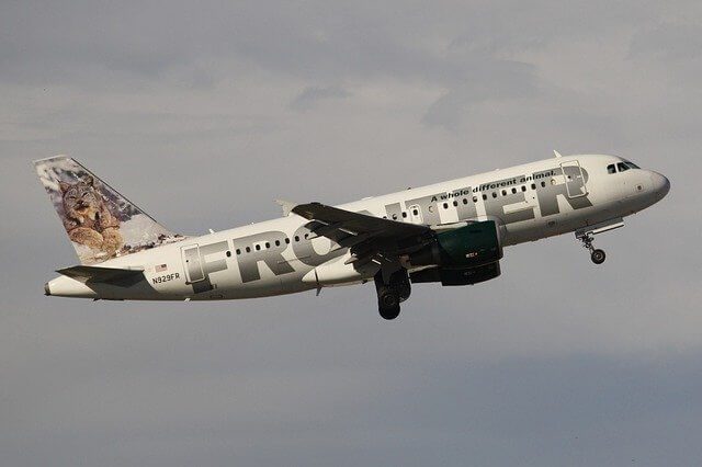 frontier airlines plane flying