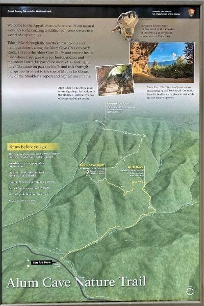 alum cave trail map
