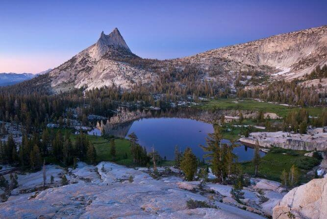 cathedral lake and cathedral peak in yosemite