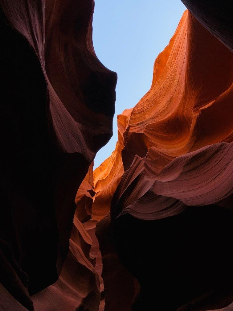 looking up from inside slot canyon