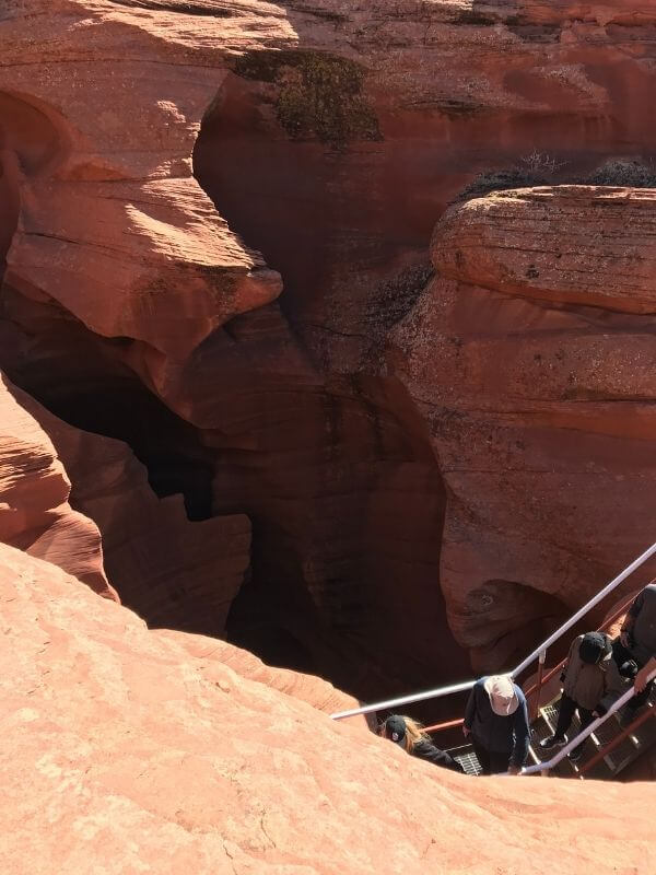 stairs leading into slot canyon