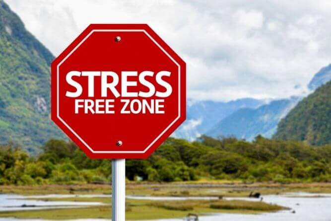 stress free zone stop sign outside