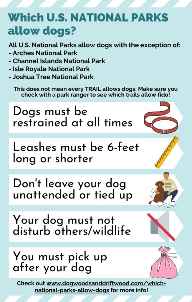infographic of national parks that don't allow dogs