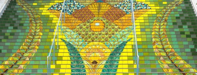 yellow and green tiled stair steps